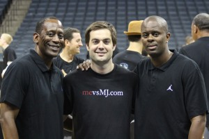 "Sharing mevsMJ.com with Eric ""Sleepy"" Floyd and Coach Levelle Moton"