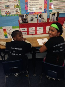 Kids from Dillard Elementary School wearing mevsMJ.com shirts