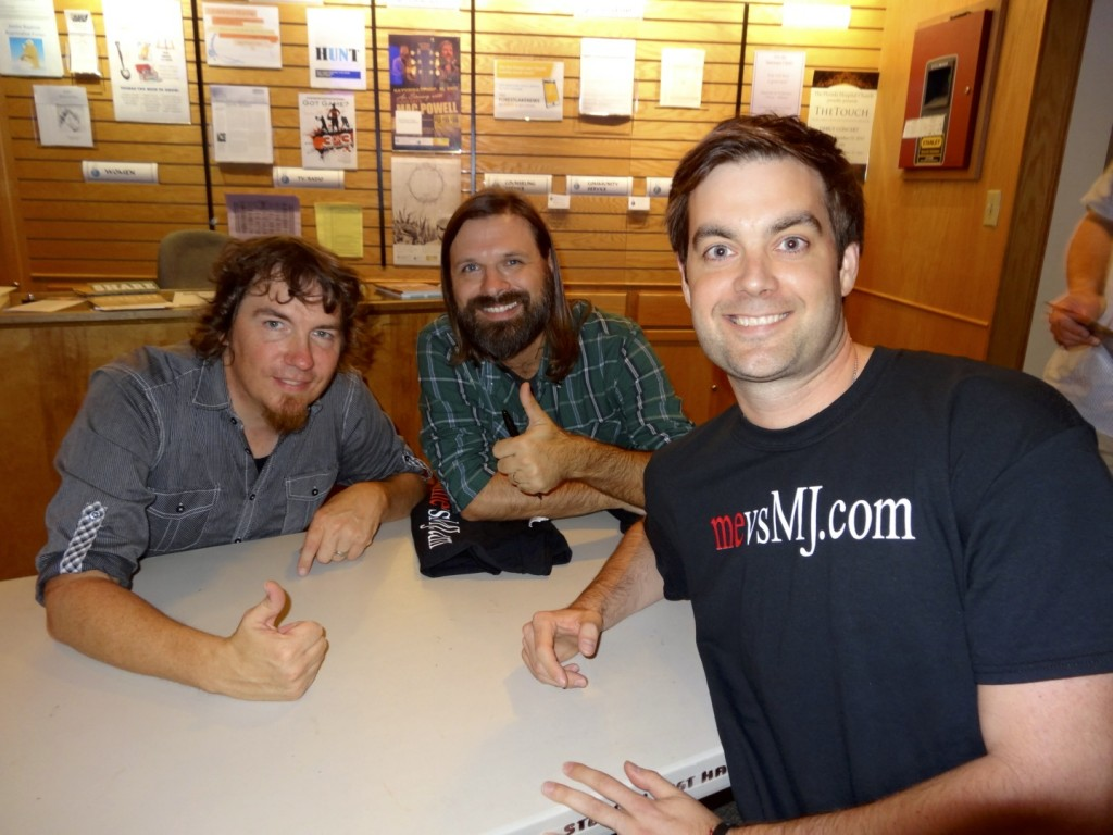 Sharing mevsMJ.com with Mark Lee and Mac Powell of Third Day