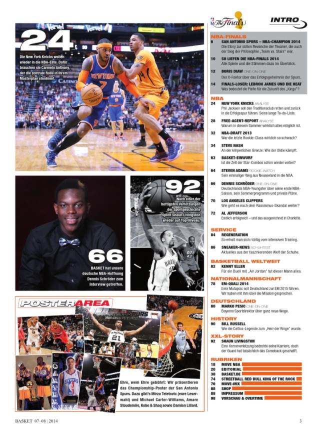 NBA Magazine Table of Contents