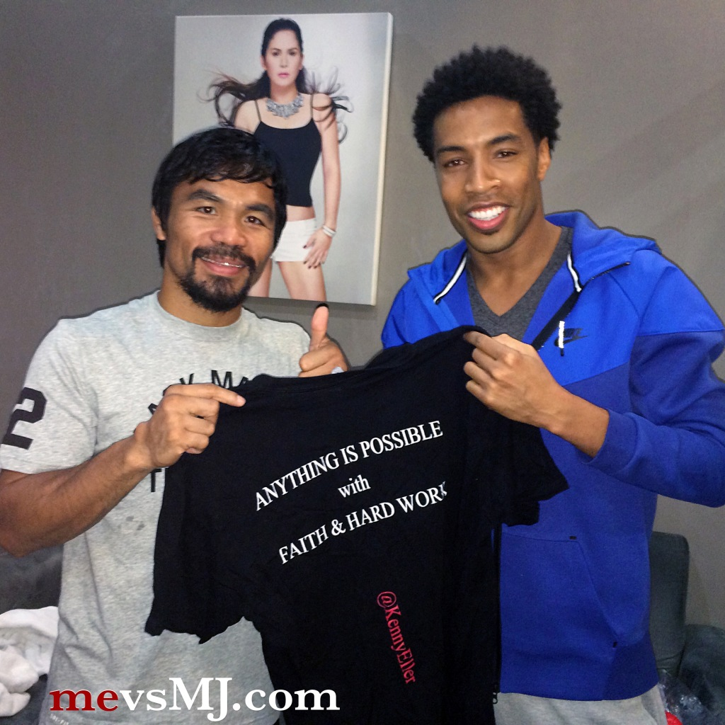 Manny Pacquiao with my friend Dante Swain, supporting mevsMJ.com